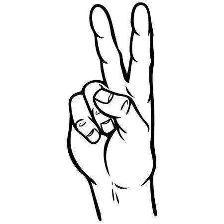 Hand Peace Sign Illustratie