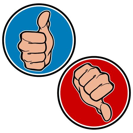 Thumbs Up and Down Icons Illustration