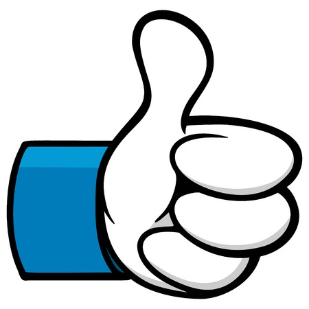 Thumbs Up Cartoon Social Network Icon Ilustrace