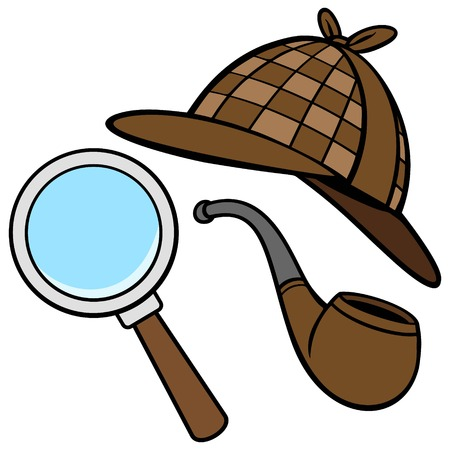 Detective Hat, Pipe, and Magnifying Glass 矢量图像