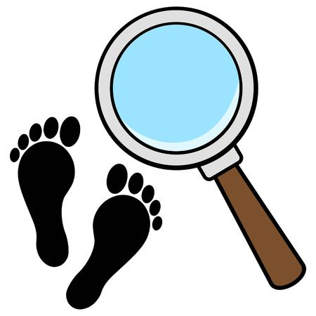 Magnifying Glass with Foot Prints Çizim