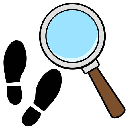 Magnifying Glass with Shoe Prints