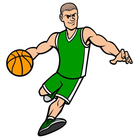 dribbling: Basketball Player Dribbling the Ball Illustration