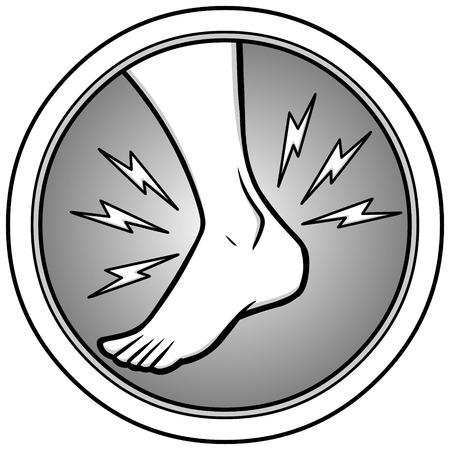 Ankle injury illustration. Illustration