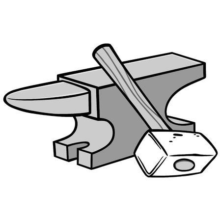 Anvil and sledgehammer illustration.