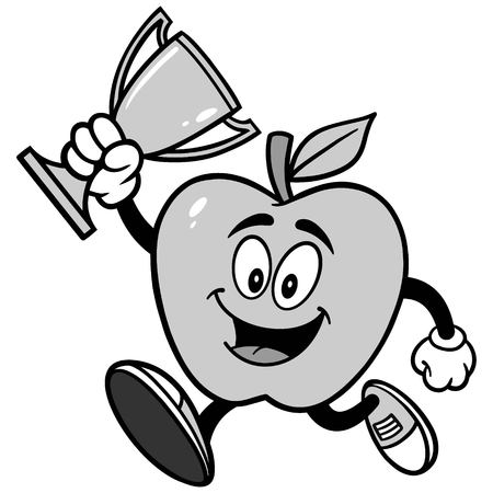 Apple Running with a Trophy Illustration Ilustrace