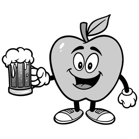 Apple with Beer Illustration