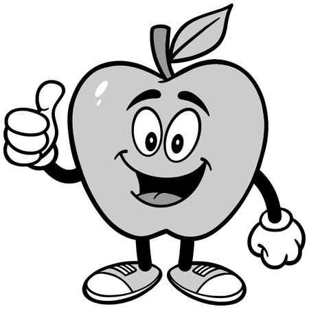 Apple with Thumbs Up Illustration Illusztráció