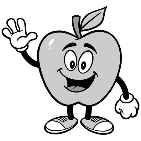 Apple Waving Illustration Иллюстрация