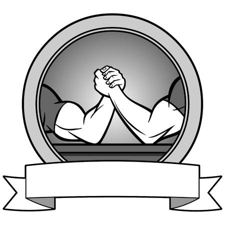 Arm wrestling banner illustration Illustration