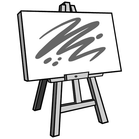 Art materials with Easel stand and a canvas with a paint sketch in an outline design illustration