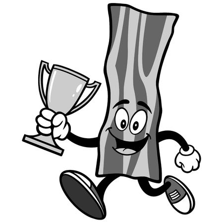 Bacon Strip Running with Trophy Illustration