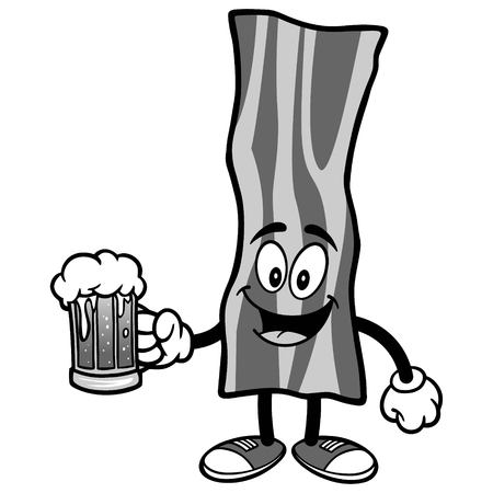 Bacon Strip with Beer Illustration