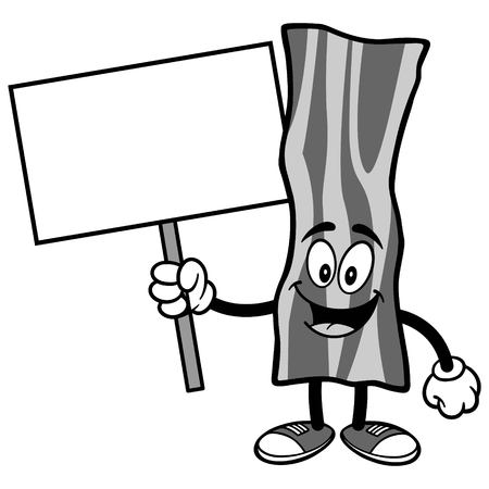 Bacon Strip with Sign Illustration Иллюстрация