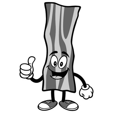 Bacon Strip with Thumbs Up Illustration