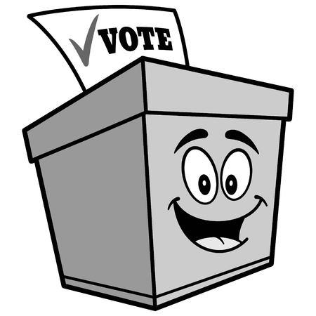 투표 용지 상자 만화 일러스트 레이션