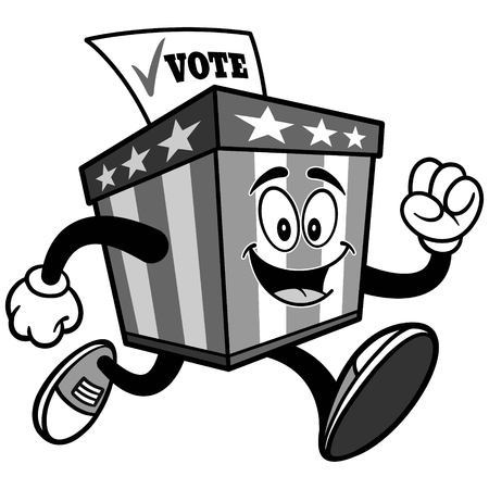 Ballot Box Mascot Running Illustration 向量圖像