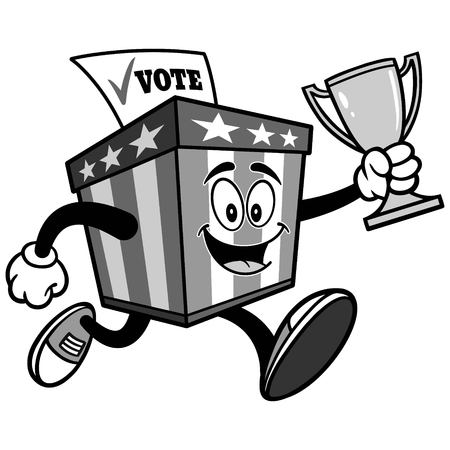 Ballot Box Mascot Running with Trophy Illustration
