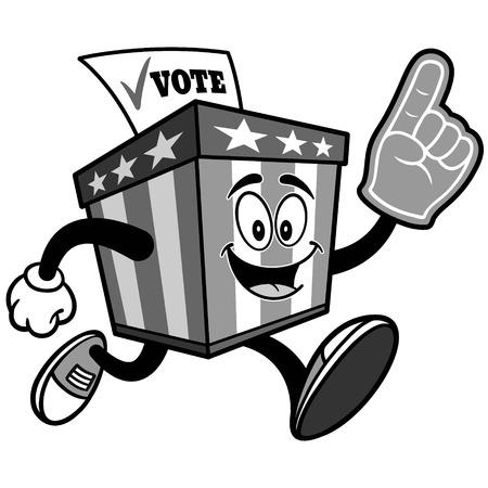 泡指の図で実行されている投票箱マスコット  イラスト・ベクター素材