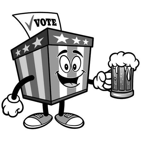 Ballot Box Mascot with Beer Illustration