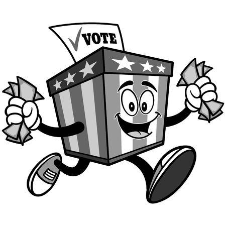 お金のイラストが実行している投票箱マスコット  イラスト・ベクター素材