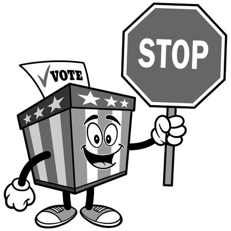 Ballot Box Mascot with Stop Sign Illustration