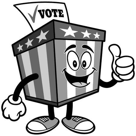 イラストを親指で投票箱マスコット