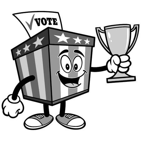 トロフィーのイラストが投票箱マスコット  イラスト・ベクター素材
