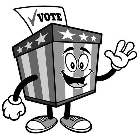 投票箱のマスコットを振って図