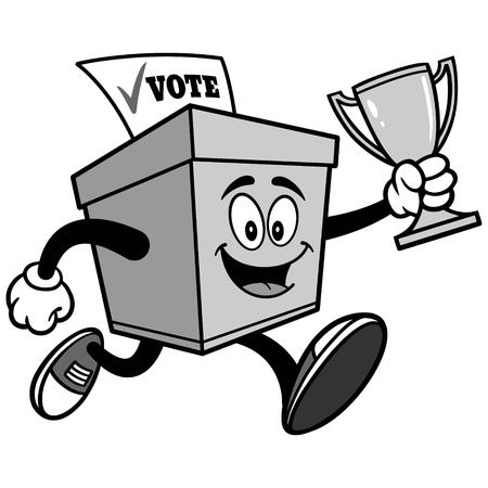 Ballot Box Running with Trophy Illustration