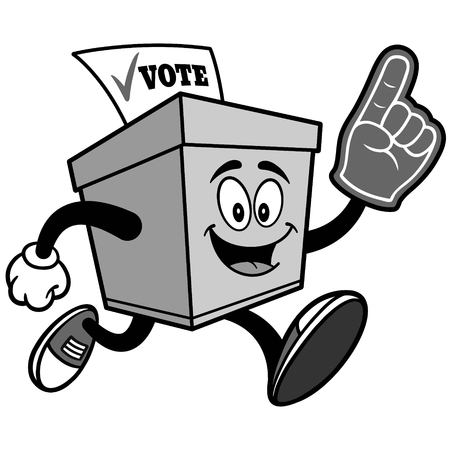 Ballot Box Running with Foam Finger Illustration
