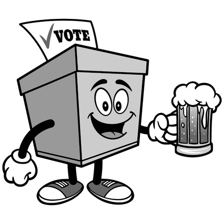 Ballot Box with Beer Illustration