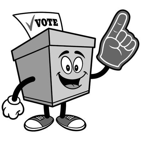 거품 손가락 일러스트와 함께 투표 상자 일러스트