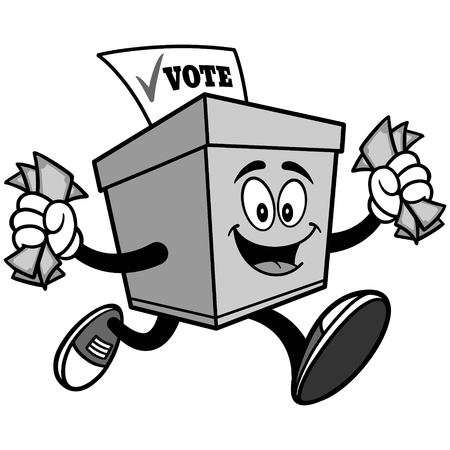 Ballot Box Running with Money Illustration
