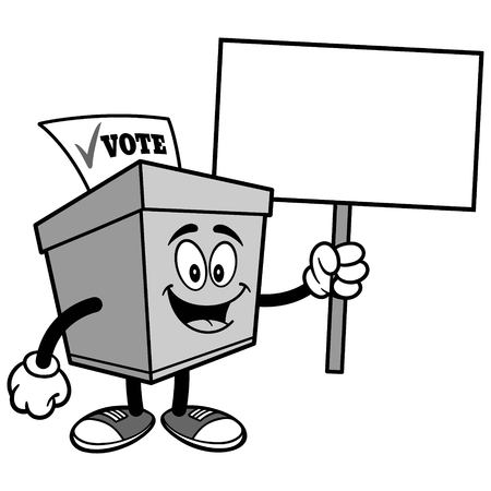 Ballot Box with Sign Illustration