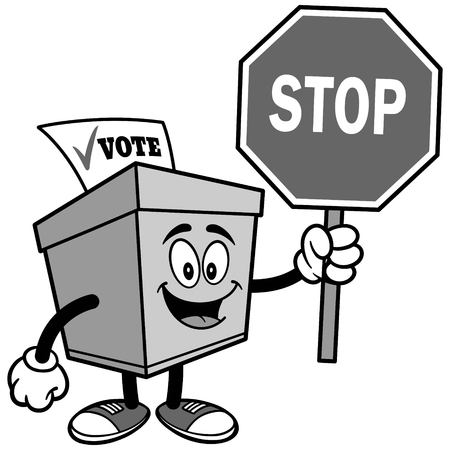 Ballot Box with Stop Sign Illustration 向量圖像