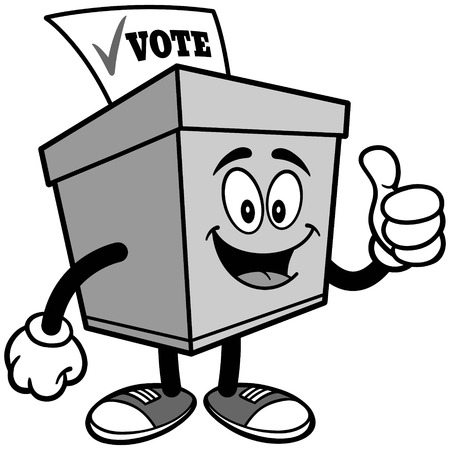 Ballot Box with Thumbs Up Illustration Ilustrace