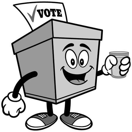 물 일러스트와 함께 투표 상자