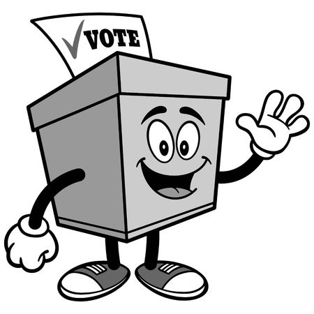Ballot Box Waving Illustration