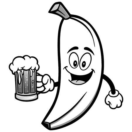 Banana with Beer Illustration Illusztráció