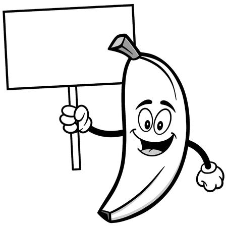 Banana with Sign Illustration