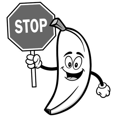 Banana with Stop Sign Illustration