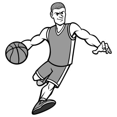 Basketball Player Dribbling Ball Illustration