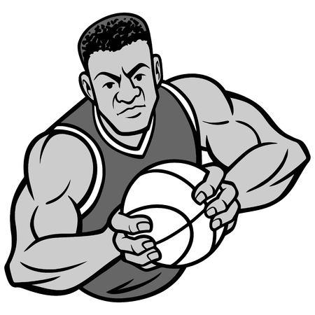 Basketball Player Offense Pose Illustration Illusztráció