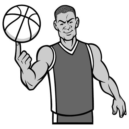 Basketball Player Spinning Ball with Finger Illustration