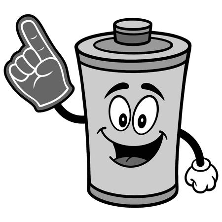 Battery with Foam Finger Illustration Illustration