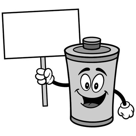 Battery with Sign Illustration