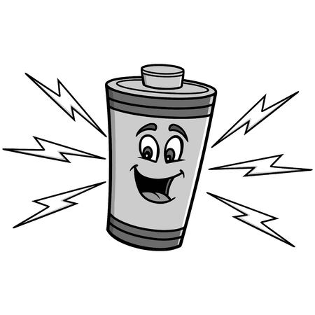 Battery mascot illustration