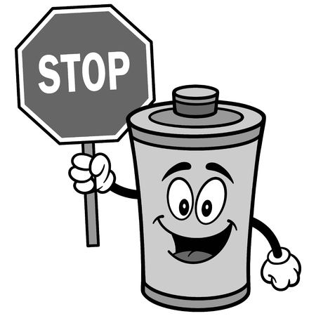 Battery with Stop Sign Illustration