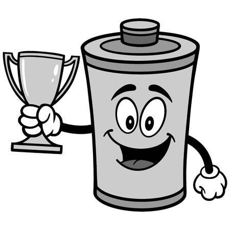 Battery with Trophy Illustration Illustration